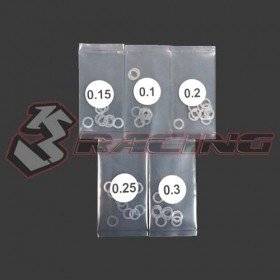 3RACING Stainless Steel 4mm Shim Spacer 0.1/0.15/0.2/0.25/0.3mm Thickness 10pcs each - 3RAC-SW04/V2